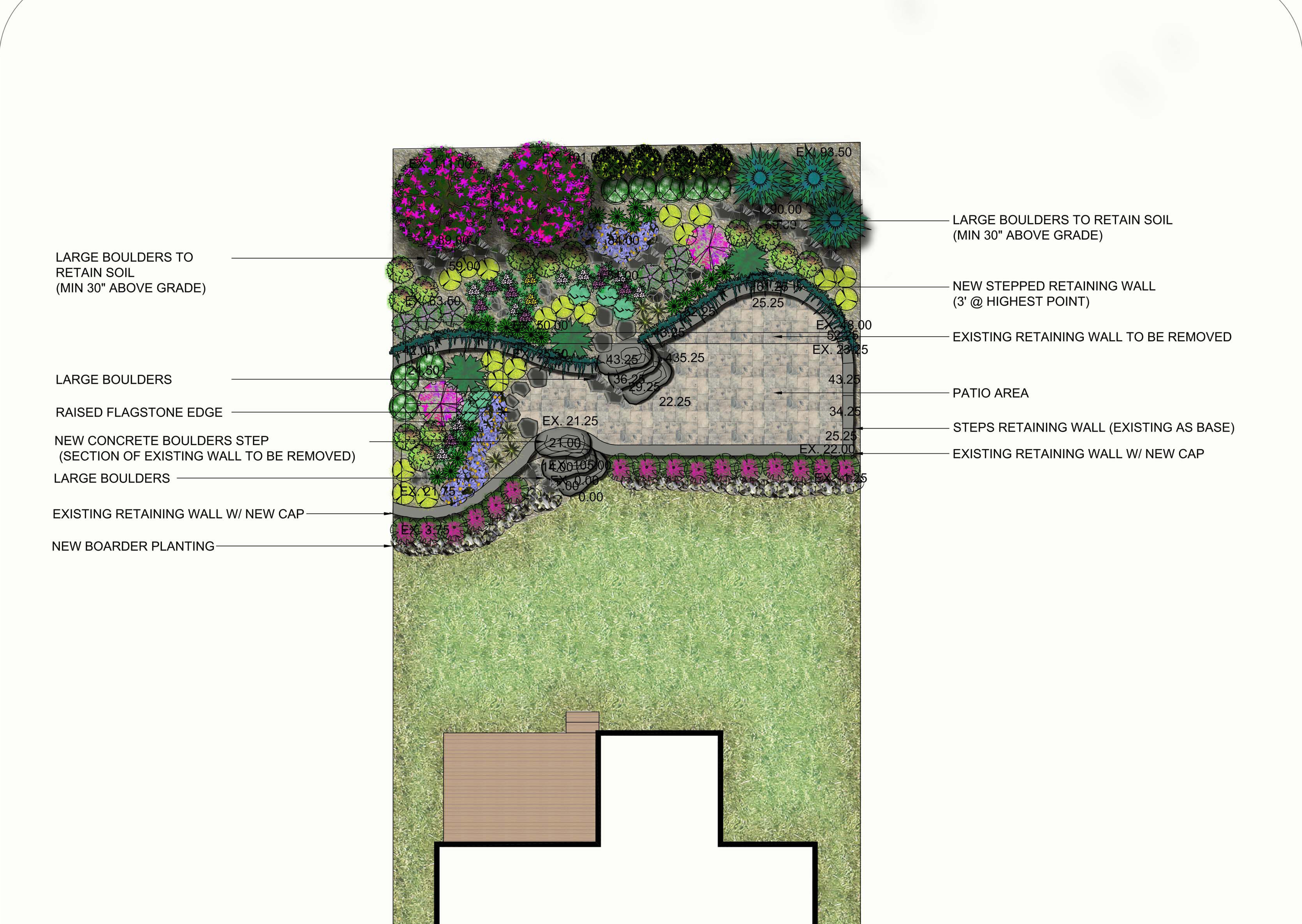 Sample Design - Backyard retaining walls