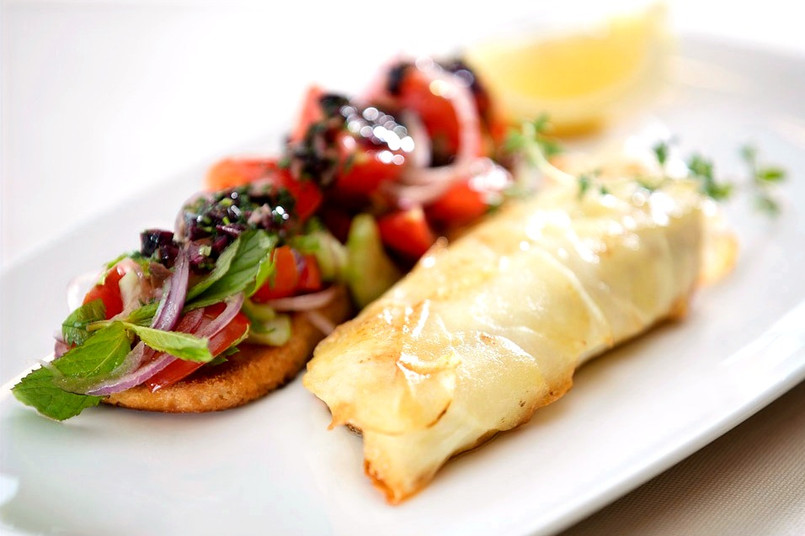 Sea Bass in Potato Crust,Panzanella Bruschetta
