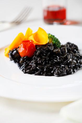 Black Ink Risotto, pumpkin carpaccio