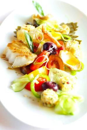 Greek Salad with Cod Fish