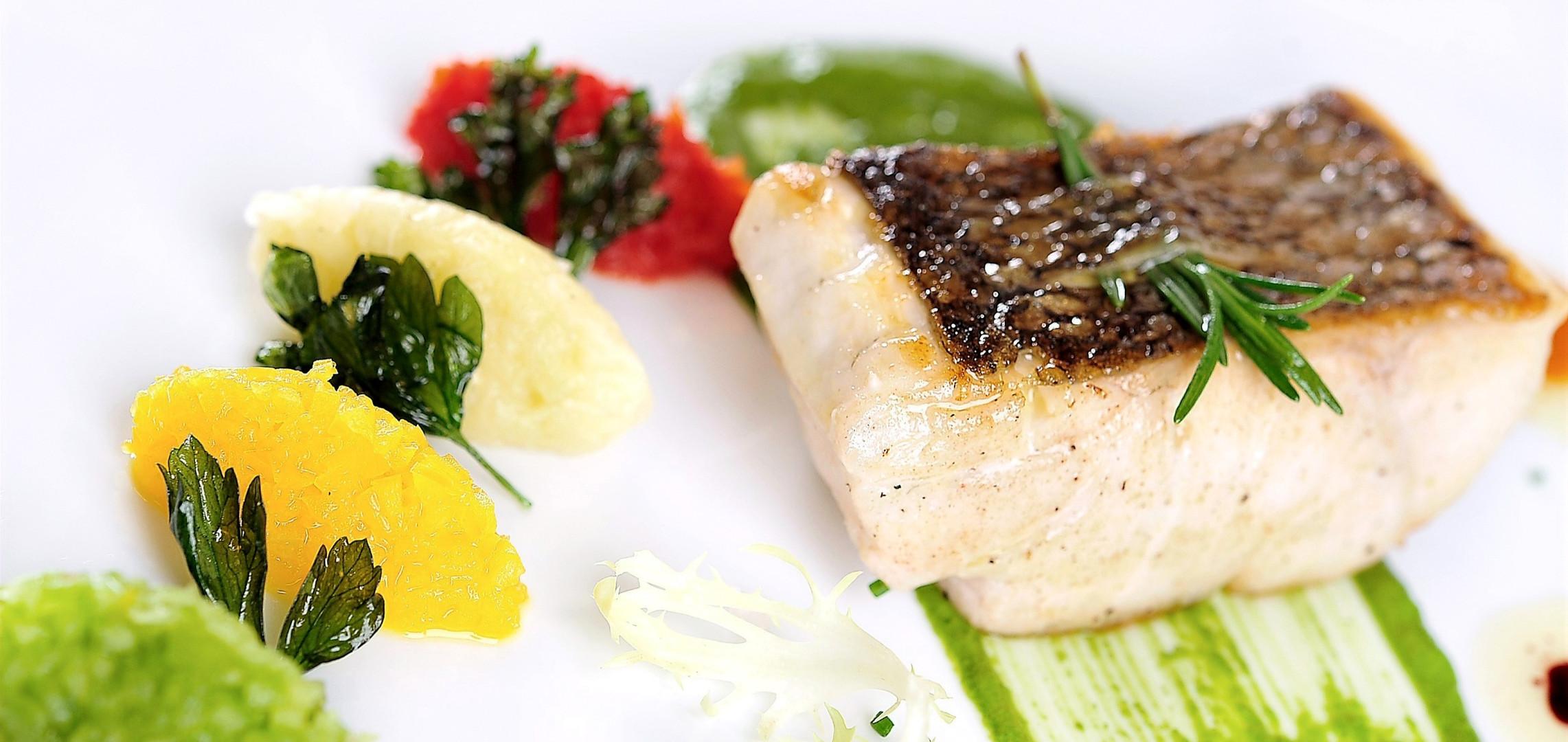 Sea Bass Pesto and peppers caviar