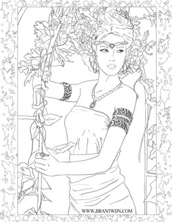 Ceridwen Coloring Page - Jewelry Variant