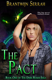 Book cover, The Pact, brantwijn serrah, blonde, cowgirl, woman, girl, cowboy hat, yellow eyes, demon eyes, desert, runes, symbols, steampunk, weird west, adventure