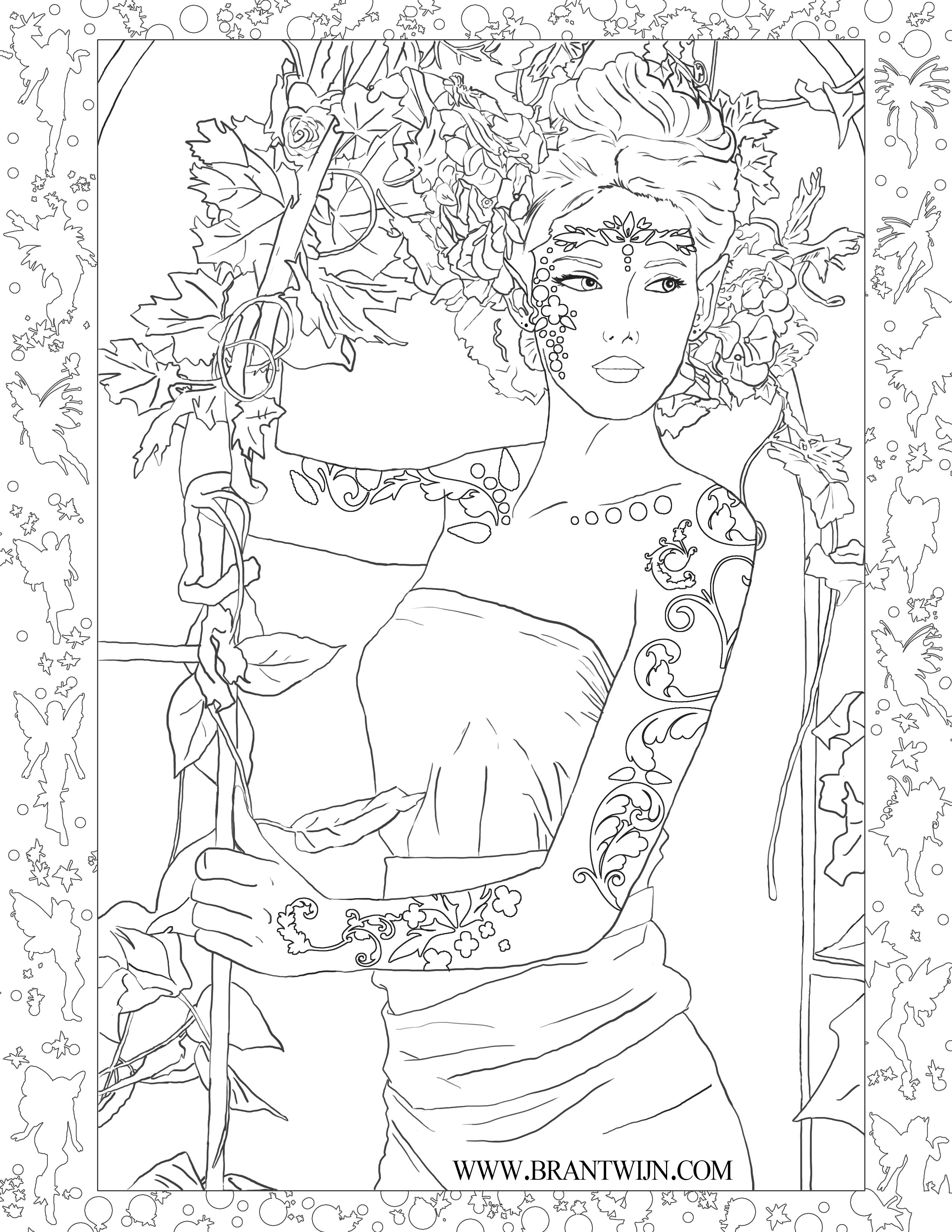 Ceridwen Coloring Page - Body Paint Variant