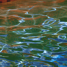 Copper + Blue Water Abstract