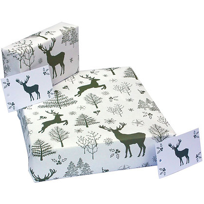 Scandi Deer White - Wrapping Paper