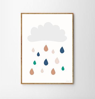 Cloud and Raindrops Print