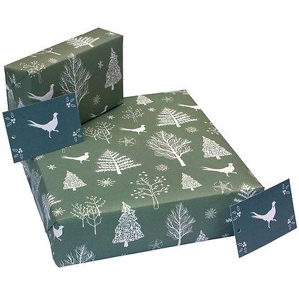 Scandi Pheasants Grey - Wrapping Paper