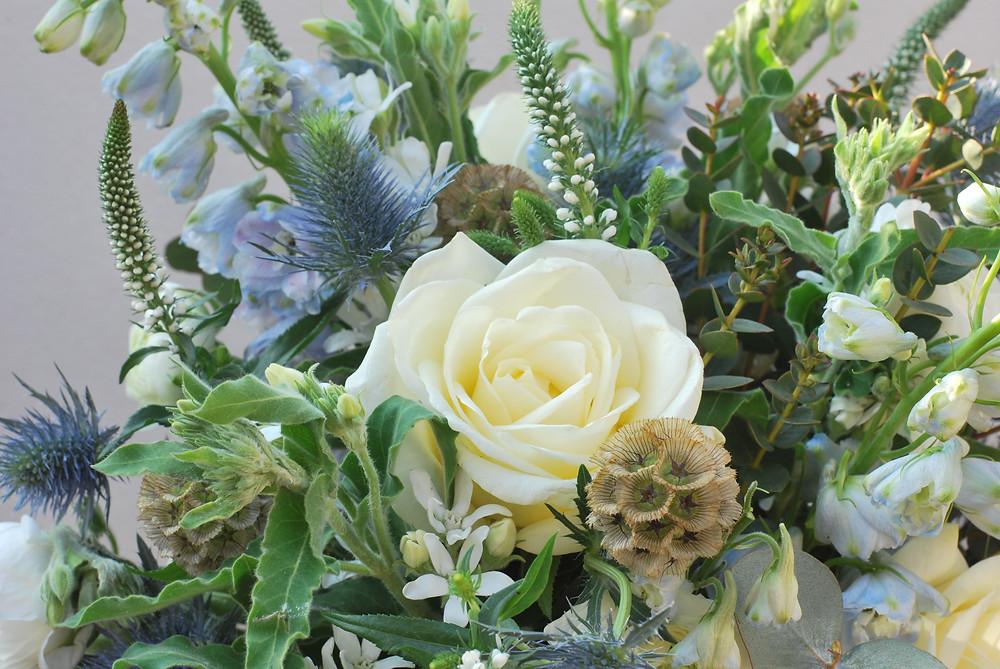 calming Blue & cream Coloured bouquet