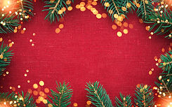 Christmas background with xmas tree and sparkle bokeh lights on red canvas background. Mer