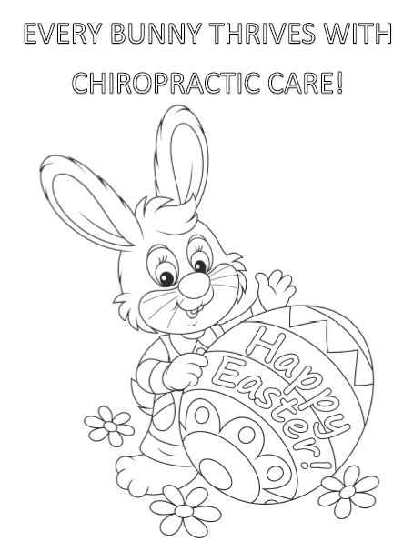 Every Bunny Thrives with Chiropractic Care Colouring Page