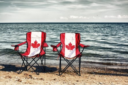 Canada Day Chairs by Lake