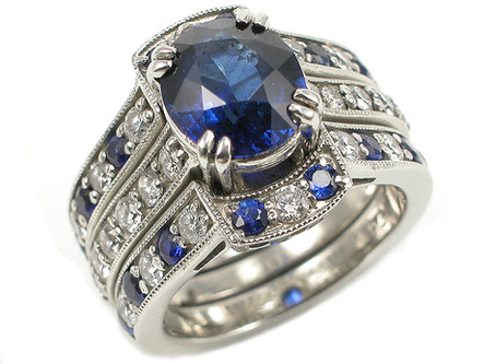 Platinum, Sapphire, and Diamond Engagement Ring and Bands