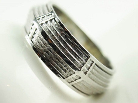 White Gold Mayan Temple Memoriam Ring