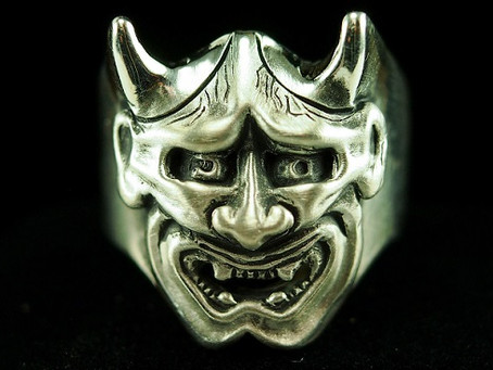 Hot off the Bench: Hand-Carved Wax Cast Silver Hannya Mask Ring