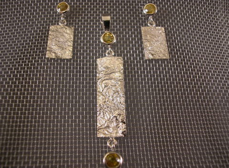 Reticulated Silver, Titanium Sphene Pendant and Earring Set