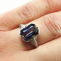 Art Deco Inspired Iolite Engagement Ring