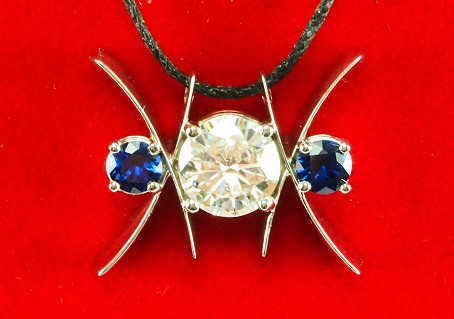 Hot off the Bench: Diamond and Sapphire White Gold Statement Pendant