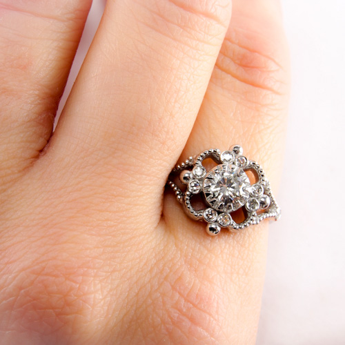 Milgrain Engagement Ring