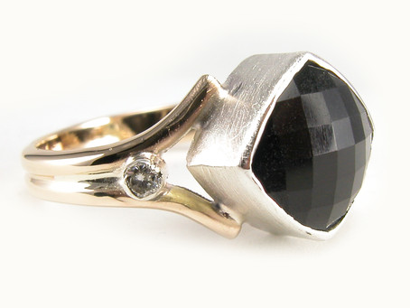 Black Onyx Yellow Gold and Silver Ring with Diamond Accents