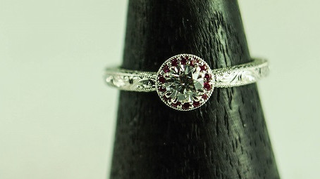 Hand Engraving Before and After: White Gold Diamond and Ruby Engagement Ring