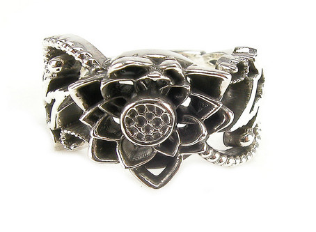 Sterling Silver Lotus and Blackbird Engagement Ring