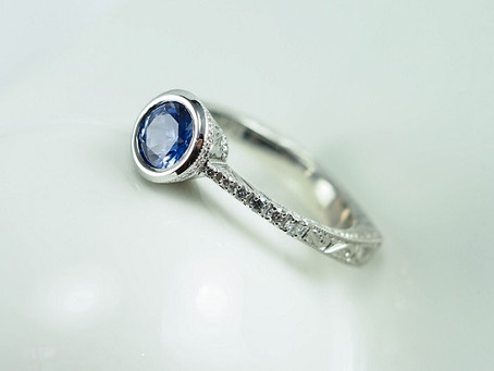 Bezel Set, Euro-Shank Blue Sapphire and Diamond Engagement Ring