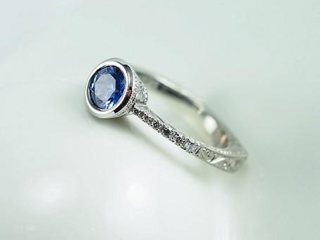 Bezel Set, Euro-Shank Blue Sapphire and Diamond Engagement Ring