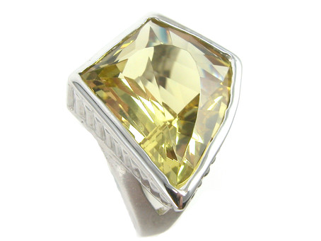 Kite Cut Yellow Beryl in 14k White Gold Ring