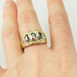 Byzantine 3 Stone Ring