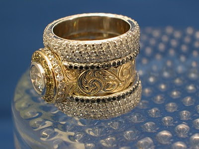 Custom Platinum and 18kt Yellow Gold Engagement Ring and Wedding Bands