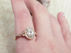 Halo Pear Shaped Moissanite Engagement Ring