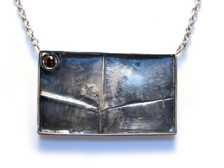 Fold Formed Silver Necklace with Spessartine Garnet