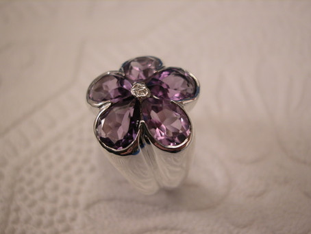 Hand Carved Amethyst and Sterling Silver Ring