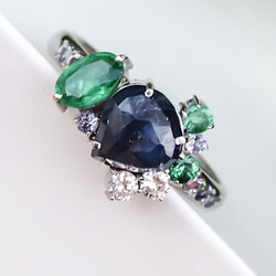 Sapphire Emerald and Diamond Cluster Ring