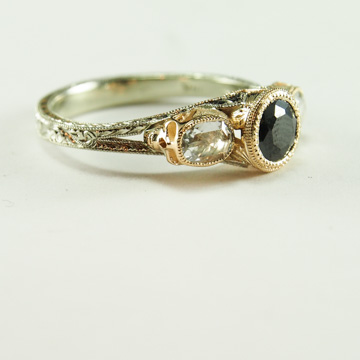 Black Diamond and Skull Engagement Ring