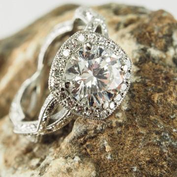 Hand Engraved Diamond Halo Infinity Ring