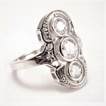 Art Deco 3 Stone Fashion Ring
