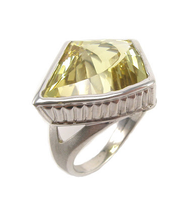 Kite Cut Yellow Beryl in 14k White Gold Ring