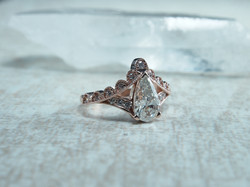 Lacy Rose Gold Pear Diamond Engagement Ring