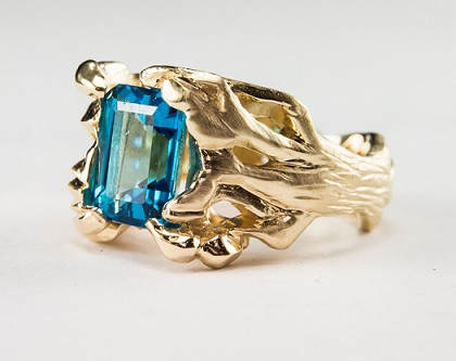 Hot off the Bench: Hand-carved gold and blue topaz engagement ring