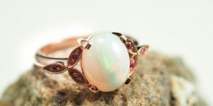 White Opal and Pink Tourmaline Ring