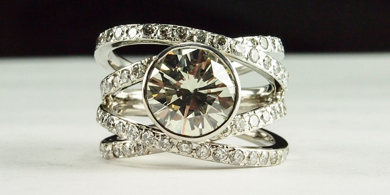 3ct Diamond Criss Cross Right Hand Ring