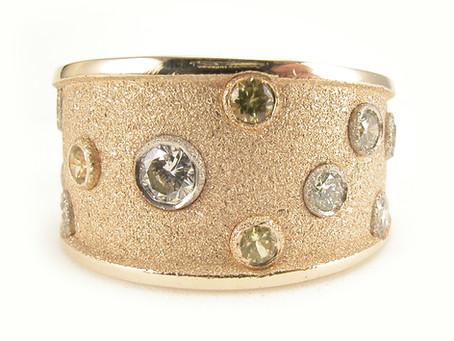 14k Yellow Gold Sandblasted Diamond and Sapphire Ring