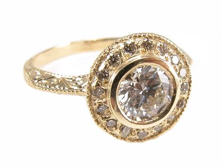 Hand Engraved Diamond Halo Ring