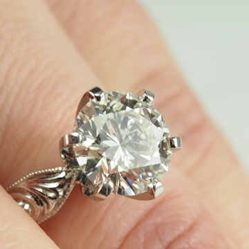 Solitaire Engagement Ring with Hand Engraved Shank