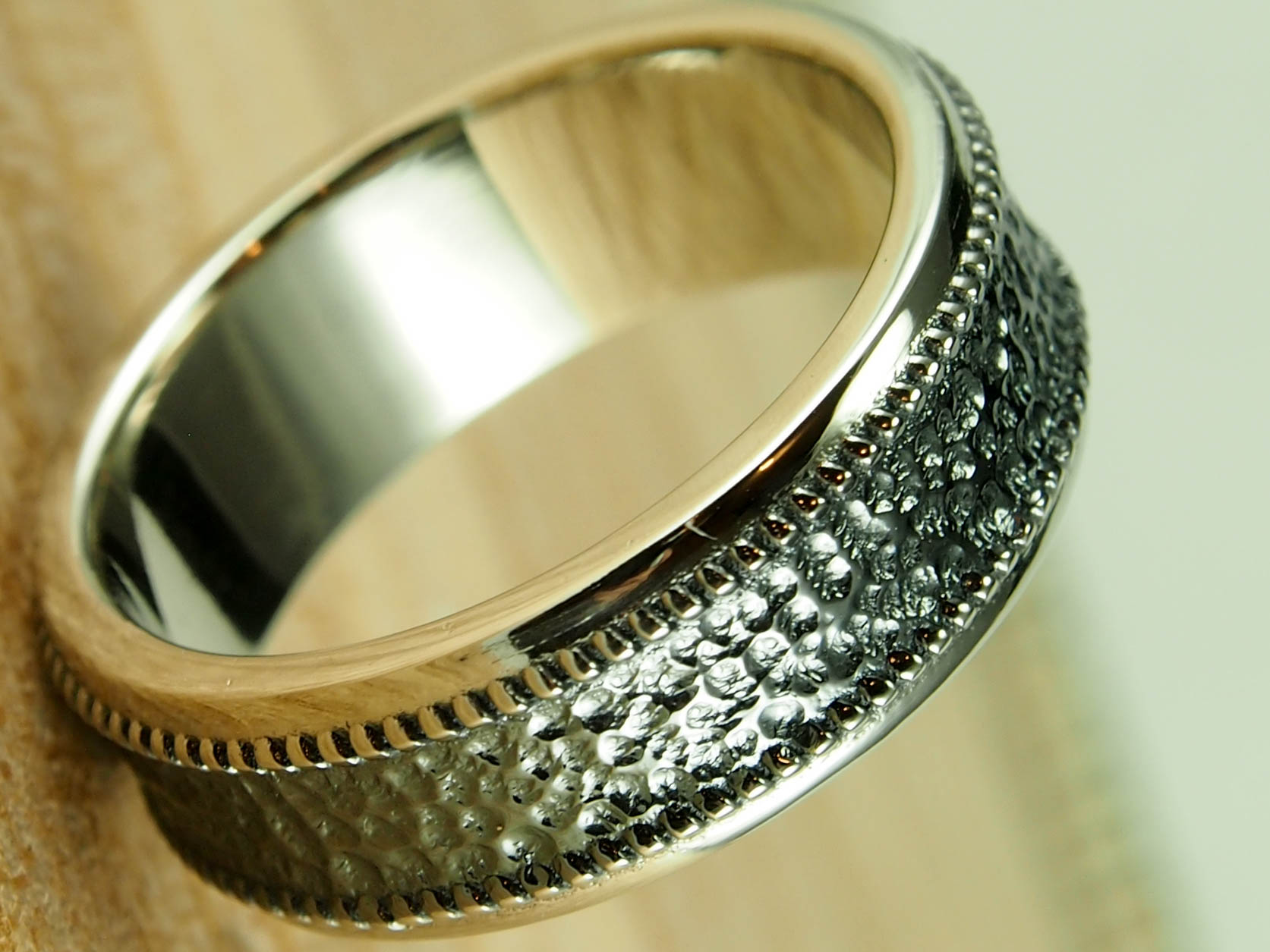 Textured Inlay Wedding Band