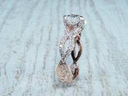Rose Gold Braided and Hand Engraved Engagement Ring