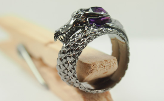 Maleficent Dragon Ring with Amethyst