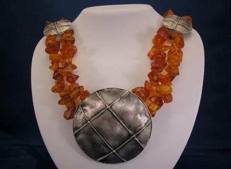 Amber and Fold Formed Sliver Medallion Necklace